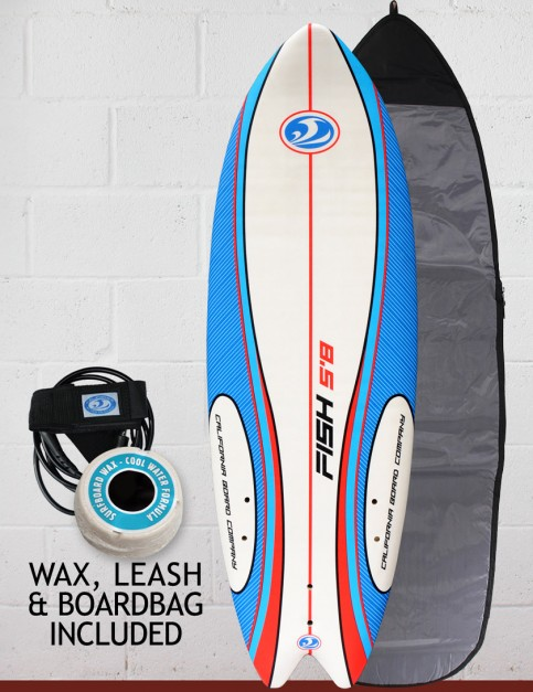 California Board Company Sushi Fish Soft surfboard package 5ft 8 - Red/White/Blue