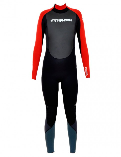 Typhoon Youth Storm Back Zip 5/4/3mm Wetsuit 2016 - Black/Red
