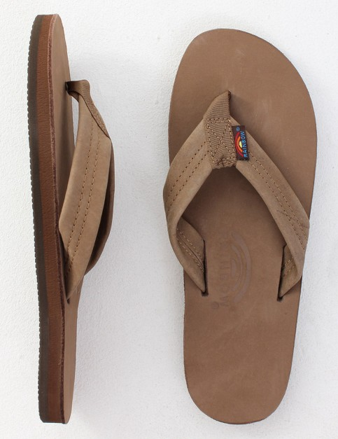 Rainbow Sandals Premier Leather Single Layer Arch Flip flops - Dark Brown