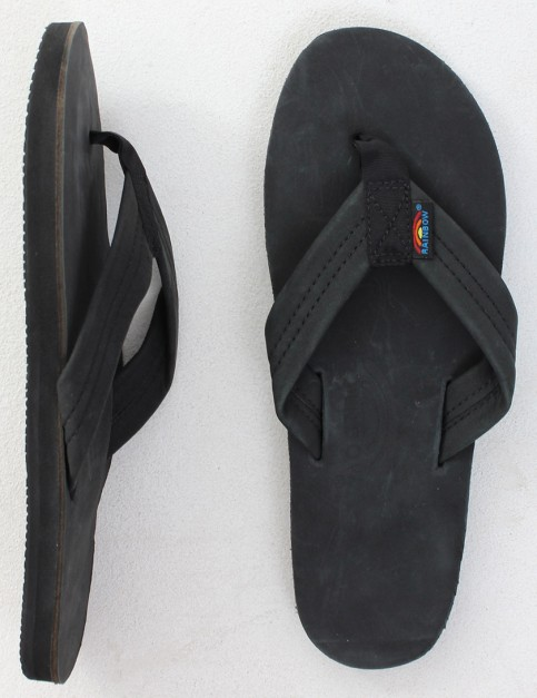 Rainbow Sandals Premier Leather Single Layer Arch Flip flops - Black
