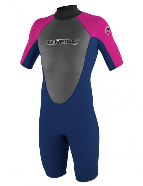 Oneill Wetsuits Youth Reactor Spring Shorty 2mm Summer 2015 - Navy/Navy/Pink/Pink