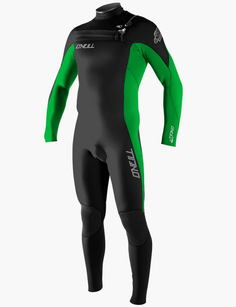 Oneill Wetsuits Youth SuperFreak FZ GBS 3/2mm Kids Summer wetsuit Spring 2013 - Blk/Clean Green