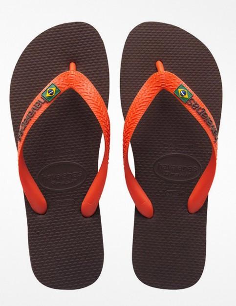 Havaianas Brasil Logo Flip Flop - Brown/Orange