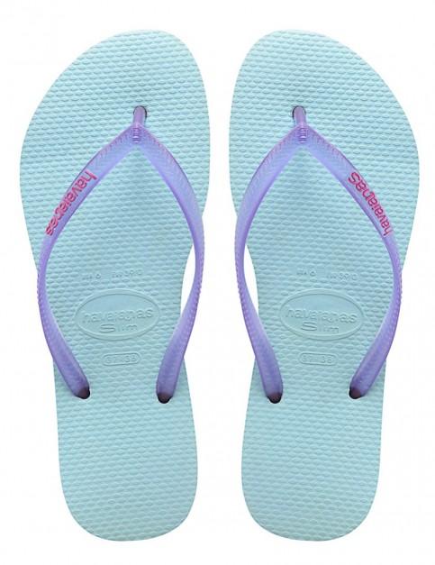 Havaianas Slim Logo Pop-Up Ladies flip flops - Ice Blue