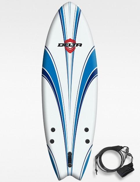 Alder delta hybrid fish soft surfboard 5ft 6 white blue for Hybrid fish surfboard
