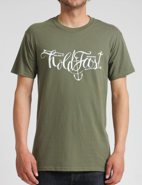 Hold Fast Script T shirt - Army