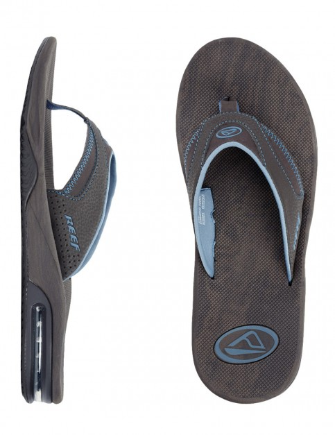 Reef Fanning Prints Flip flops - Blue/Brown Wood