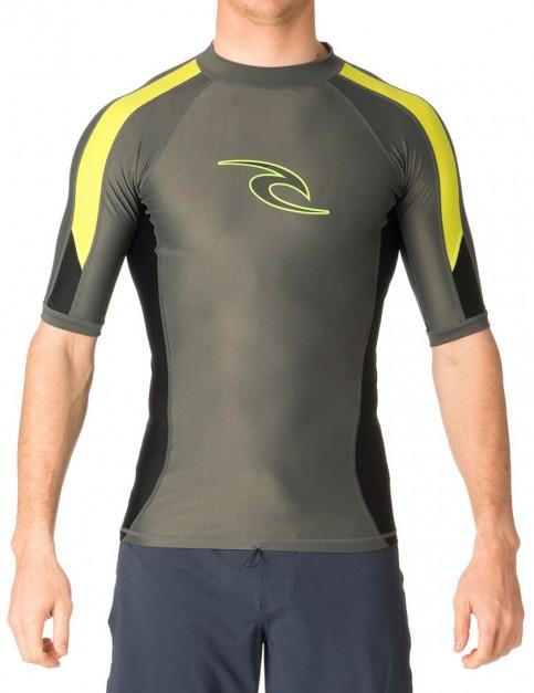 Rip Curl Wetsuits Stripe Short Sleeve Rash vest - Charcoal/Lime