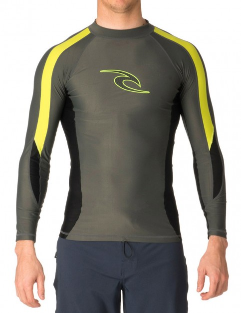 Rip Curl Wetsuits Stripe Long Sleeve Rash vest - Charcoal/Lime