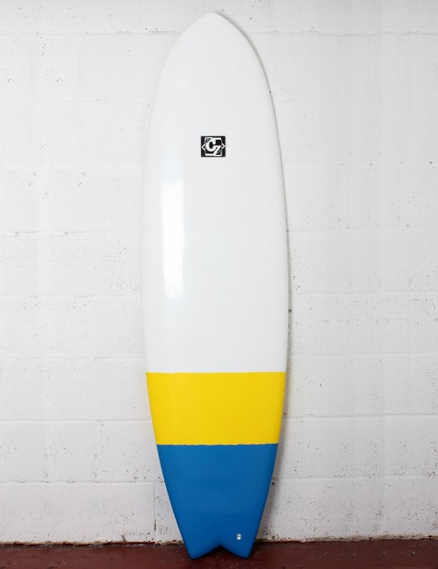 Cortez Fish surfboard 6ft 6 - Blue/Yellow Dip