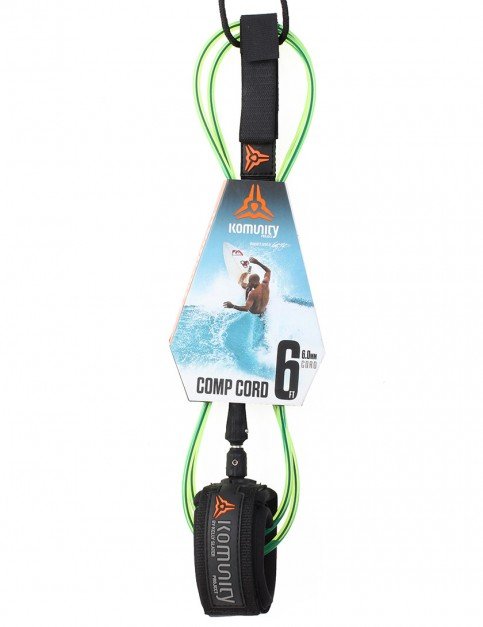 Komunity Project Comp Cord surf leash 6ft - Lime