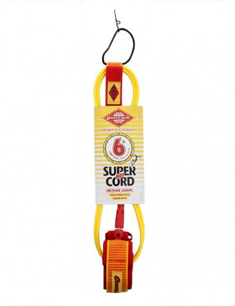 Ocean & Earth Heritage Series Comp Surfboard Leash 6ft - Yellow